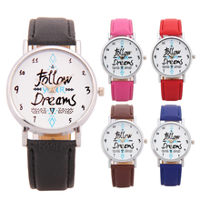 Delicate watch women watch Women Follow Newest Hot Girls Bracelet Watch Women Dream Words Pattern Leather Watch