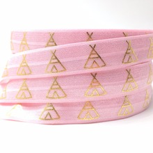 "Hot Sale 5/8"" Pink Teepee Print Fold Over Elastic Gold Foil FOE for Hair Tie Bracelet DIY Headwear Hair Accesorries 10 yards/lot(China)"