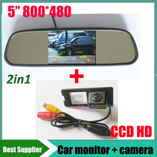 5inch car mirror monitor TFT LCD 800*480  +  for Renault Fluence Duster car backup rear view parking camera CCD HD Night vision