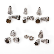 6 Styles 86pcs/bag Mixed Zinc Alloy Torus Plated Silver Supplies For Jewelry Making Bracelet Necklace DIY Bead Caps Accessories