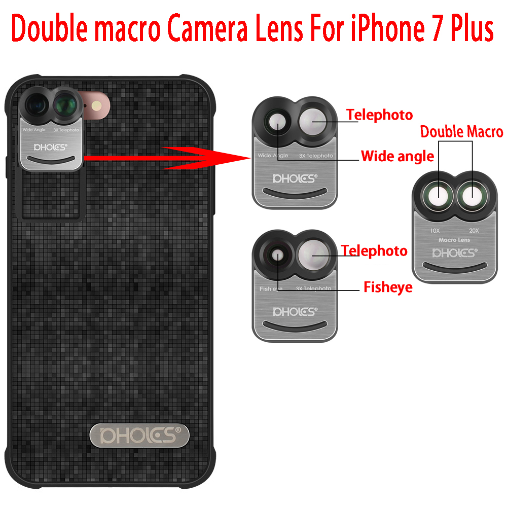 PHOLES Dual Camera Telescope Lens Fisheye Lens Wide Angle Lens For Apple iPhone 8Plus / 7Plus+Phone Case Cover 1