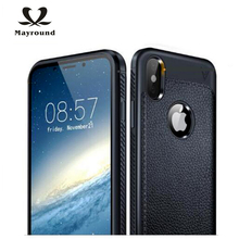 MAYROUND Delicate Genuine Leather Phone Sleeve For Apple iPhone X 10 Case 360 Degree Full Protec Cover Flexible Bumper Design