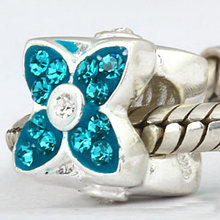Four leaf clover charms Jewelry Original 925 sterling silver bead with blue quartz Fits for Pandora Bracelets free shipping(China)