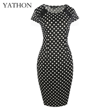 YATHON Polka Dot Print Office Work Bodycon Pencil Dress Women Elegant Short Sleeve Leather Patchwork Summer Casual Party Dresses(China)