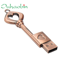 2017 New USB Pen Drive Metal Pure Copper Heart Key USB Flash Drive USB Key Genuine 8GB High Quality Wholesale Price Hot_KXL0418(China)