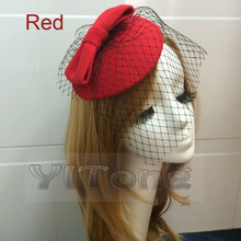 Hot Selling Fashion Lady's Felt Wool Hat Hair Clip Formal Dress Bowknot Veil Hat Fascinator Hair Clip Accessory Flower Cap