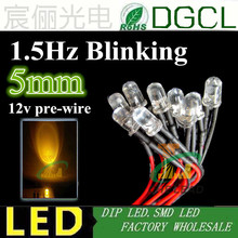 (CE&Rosh)1.5Hz blinking DC 12V/24V Pre-wired led 5mm round yellow led diode 20cm cable for  indicate lighting