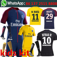 camisetas de futbol children Soccer jersey 1 2018 boy best quality Neymar Free shipping kids PSG 3RD black 2017 football jersey