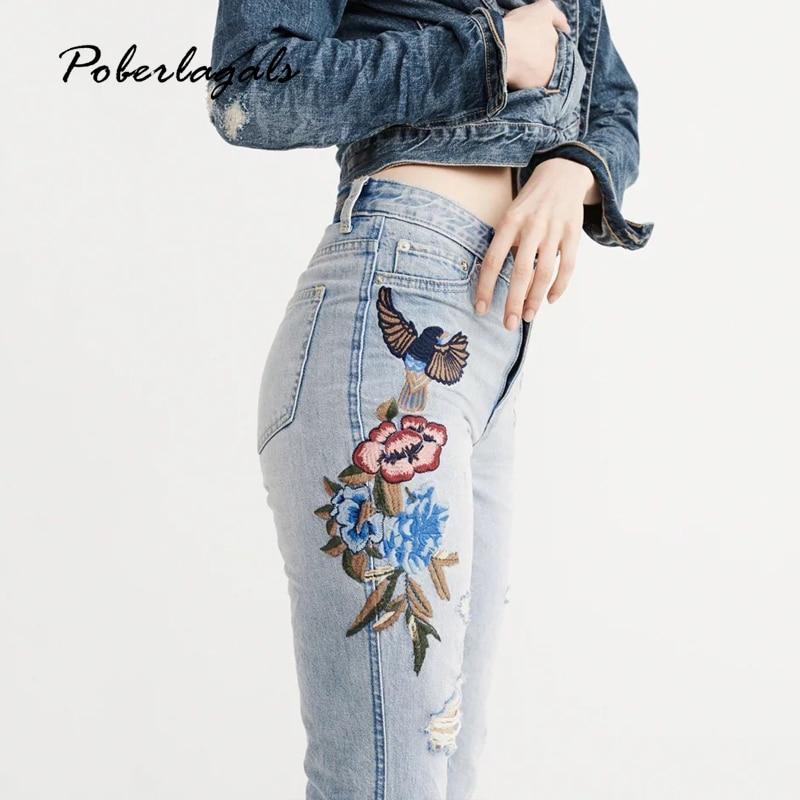 Denim embroidery jeans woman bottoms 2017 summer high waist Embroidered washed female Casual light blue jeans pants capris womenÎäåæäà è àêñåññóàðû<br><br>