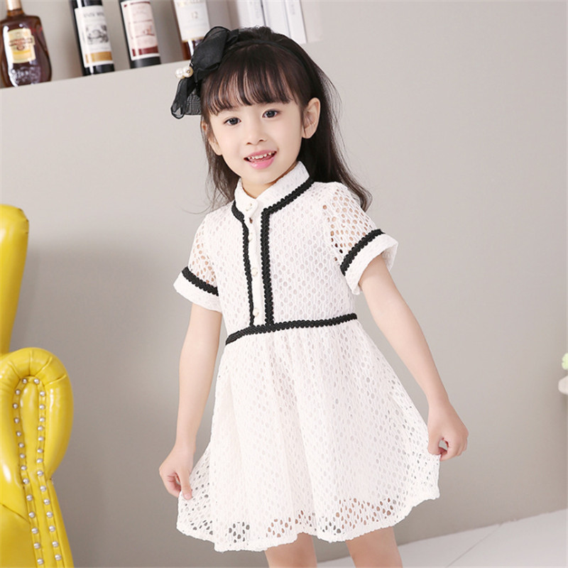 1pc Lace Summer Dress For Girl Hollow Out Patchwork Children Dresses Elegant Vestidos Short Sleeve Knee-length Vestido 2016 New<br><br>Aliexpress