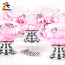 10pcs 30mm Diamond Door New Pink PURPLE Crystal Glass Pull Drawer Cabinet Furniture Handle Knob Screw Hot Worldwide SJ-1001(China)