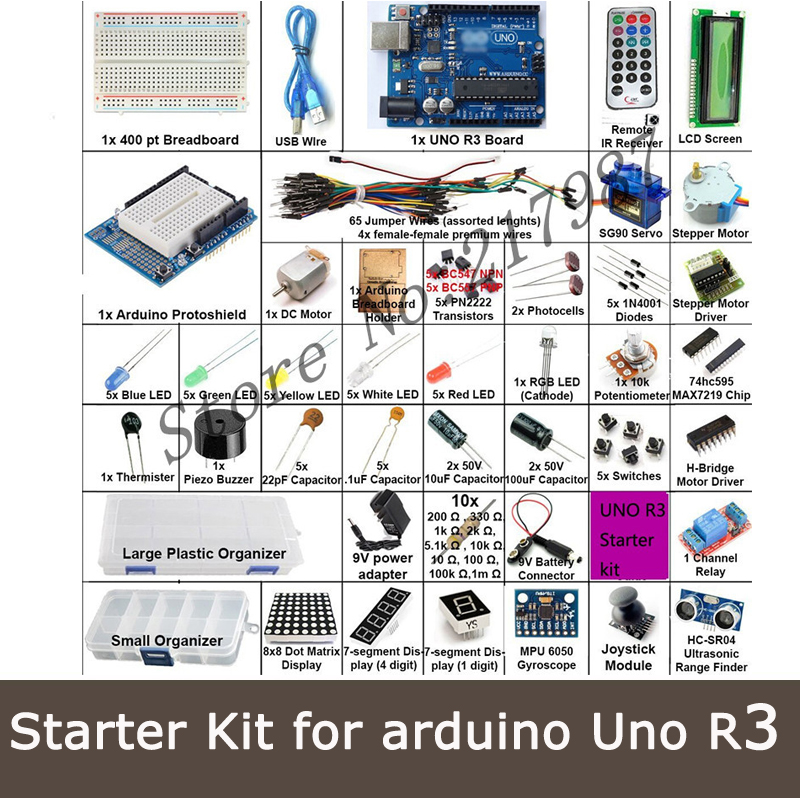 Starter Kit for arduino Uno R3 - Uno R3 Breadboard and holder Step Motor / Servo /1602 LCD / jumper Wire/ UNO R3<br><br>Aliexpress