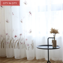 CITYINCITY Tulle Dragonfly and Butterfly kid's Curtains for bedroom 3d curtain Embroidered Princess Style White Voile sheer(China)