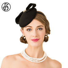 FS Fascinator Ladies Black Wedding Dress Hats For Women Elegant Bowknot With Metal Buckle Pillbox Felt Trilby Derby Hats(China)