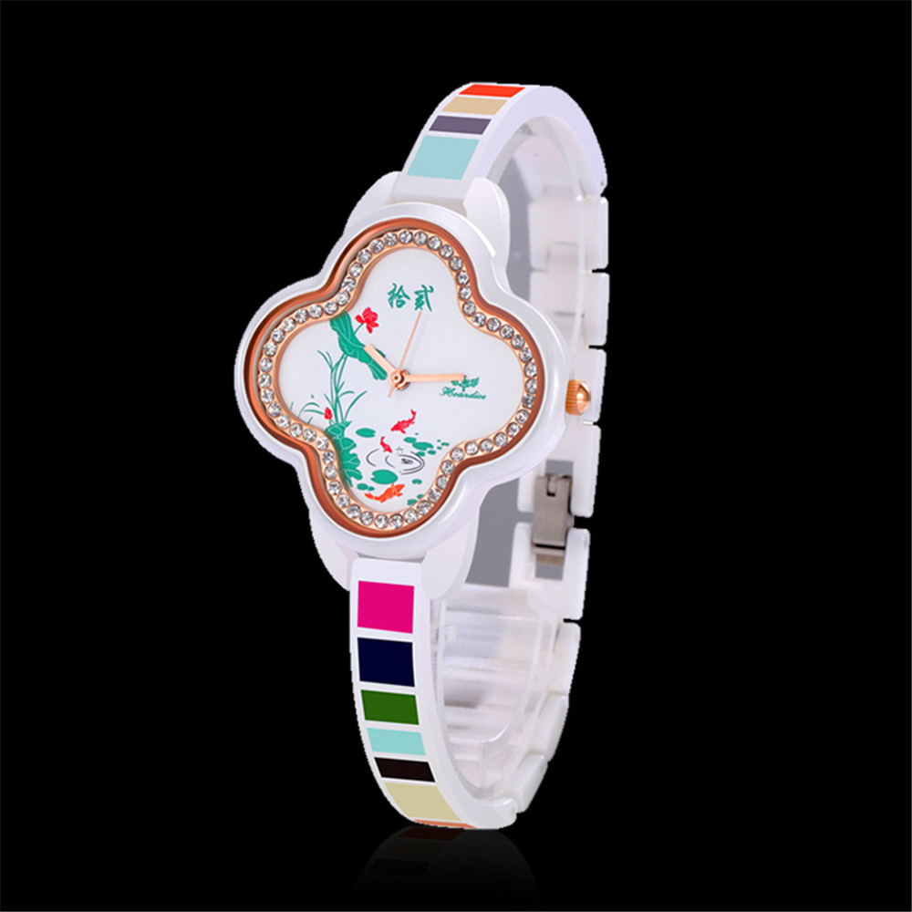 Hcandice Luxury Ceramic Crystal Ladies Watches  Rose Gold Slim Band  Female Watch Limited Edition Gift For Girls Clock <br>