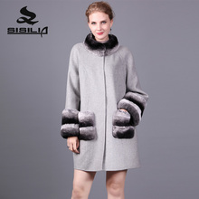 SISILIA 2017 New Cashmere Coat With Rex Rabbit Fur Of Women Winter Genuine Leather Fur Coats Good Fur Jackets For Female(China)