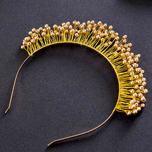Handmade gold pearl bridal tiaras golden headbands bridal headpiece prom hair jewelry wedding hair accessories hairbands