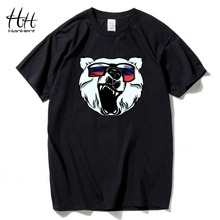 HanHent Russian Bear Printed T-shirts Men Fashion Man's TShirt Cotton Round Neck Short Sleeve Russia Swag Summer Animal T shirt