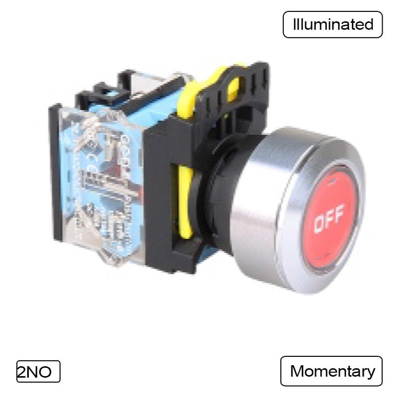 5 PCS Push button switch Flush button LED Momentary Waterproof IP65  1NO 1NC 1N0+1NC 2NO 2NC  LA115-B5-11B-10<br>