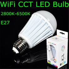 NEW AC85-240V 7W Milk White Shell E27 CCT (2800-6500K,Warm White to White) Led Bulb Builted-in Wifi IP Address(Android or IOS)