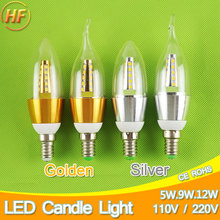 Golden Silver 5w 9w 12w E14 LED Candle Light Aluminum Shell LED Bulb 110V 220V Led Lamp E14 Cool Warm White Lampara 2835