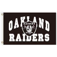 Oakland Raiders with logo Flag 3x5 FT 150X90CM NFL Banner 100D Polyester Custom flag grommets 6038, free shipping