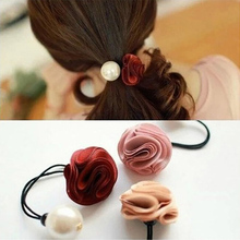 HairBands Hair Ring Women Girl Flower Rose Simulated Pearl Elastic Head Tie Rubber Hair Band Jewelry Accessories Headwear