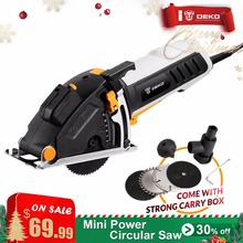 DEKO Mini Circular Saw Power Tools with Laser, 4 Blades, Dust passage, Allen key, Auxiliary handle, BMC BOX Electric Saw(China)