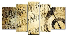 5 Panel HD Modern Wall Art Home Decoration Printed Oil Painting Pictures   Canvas Prints Classical Piano Music Notes
