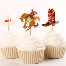 72pcs/set Cowboys Theme Horse Hat Boots Party Supplies Cartoon Cupcake Toppers Pick Kid Boy Birthday Party Decorations