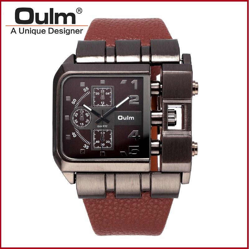 OULM 3364 Brand Original Rectangle Unique Design Men Wristwatch Wide Dial Leather Strap Quartz Watch<br><br>Aliexpress