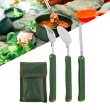 3Pcs/Set Practical Folding Camping Tool Outdoor Tableware Folding Fork Spoon Knife Picnic Dinnerware Camping Kit