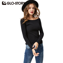 GLO-STORY Women Off Shoulder Sweater Pullovers 2017 Lady Long Sleeve Autumn Winter Sexy Knitted Sweaters Jumper Female Tops 2615(China)