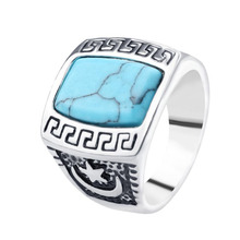 2017 New  Arrival Hot Sale Fashion Men Vintage Jewelry Tibetan Silver Plated Turquoise Rings Size 17-20 For Birthday