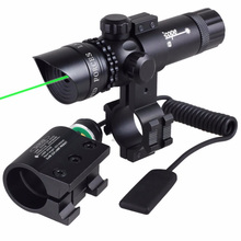 Shockproof Adjuctatble Laser Scope Tactical Green Dot Laser Sight Rifle Gun Scope 5mW Laser Emitter for Rifle Gun