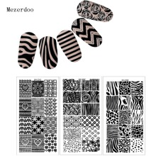 1 Pcs Rectangle Stamping Plate Zebra Pattern Nail Art Stamping Image Plate DIY Stamp Template Nail Stencil Tool Kits