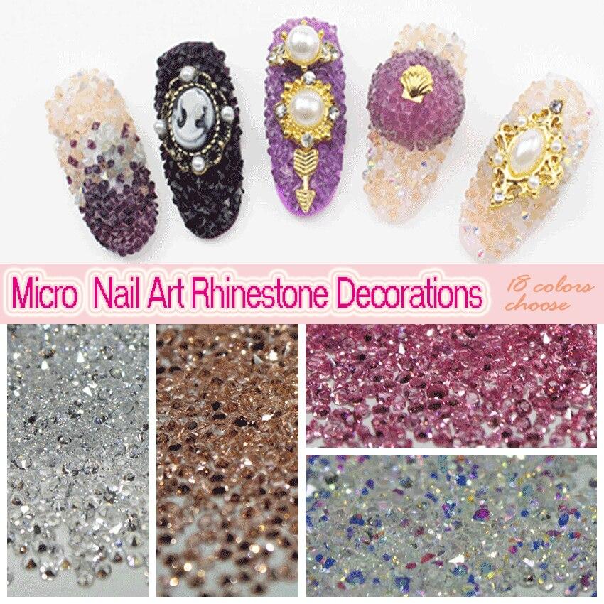 Groothandel1 zak (14400 stks)/lot 2016 3d Nail Art Steen Decoraties Glitter Micro Rhinestone1.1~ 1.3mm<br>