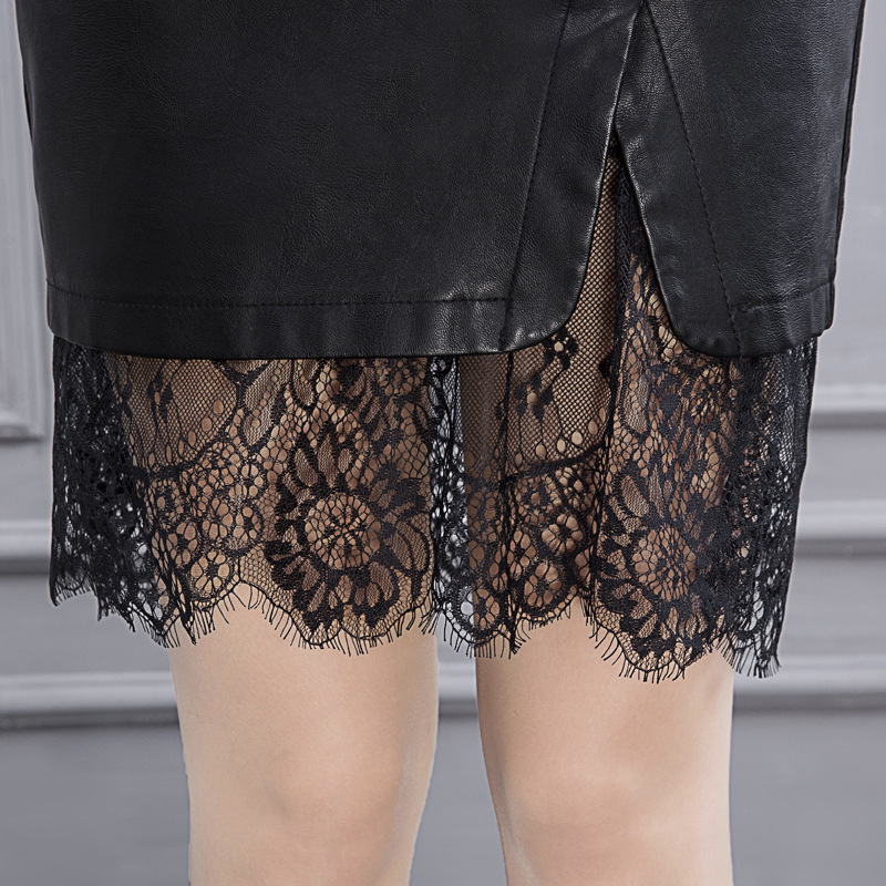 Lace Pu Leather Skirt Plus Size 4xl Jupe Crayon Gothique Lolita Pencil Dentelle Suede Saias Midi Modas Office Runway 7615-126