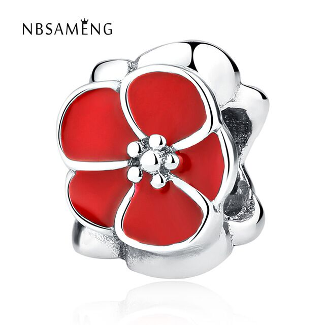 Authentic 925 Sterling Silver Charms Red Flower Beads With Glaze Fit Pandora Women Bracelet & Bangle DIY Jewelry(China)