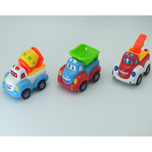QICSYXJ Educational Toy Gift Supply 3pcs/set Mini Inertial Car 8cm Cartoon Truck Mixers Crane Dump Truck Model