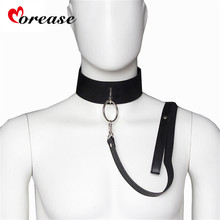 Buy Sex Slave Bondage Collar leash Neck Dog Collar Leather Harness Fetsih Erotic BDSM Sex Adult Games Toys Couples Woman Men