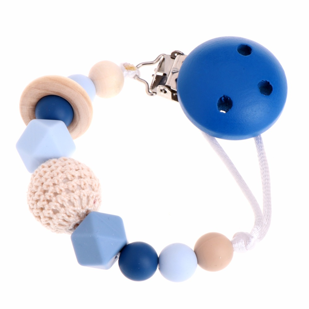 OOTDTY Baby Silicone Teething Dummy Pacifier Clip Bead Infant Soother Nipple Strap Chain
