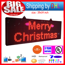 Wifi wireless control led rolling display P13RGB outdoor 7-color 3D effects led signs 39x14inch programmable display panel(China)