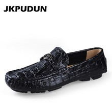 JKPUDUN Big Size Italian Mens Loafers Crocodile Shoes Leather Luxury Brand Designer Fashion Dress Shoes Men Casual Driving Shoes(China)