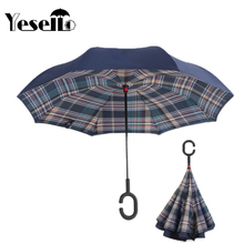 Yesello Green Plaid Rolling Over Reverse Umbrella Double Layer Inverted Self Stand Rain Protection Long C-Hands Folding(China)