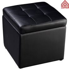 Footstool Storage leather substitute BLACK