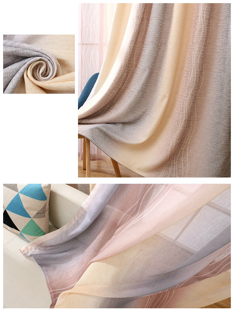 White Silk Cotton Hemp Color Gradient Shading Printing Water Waves Curtains for Living Room Bedroom Shading 10