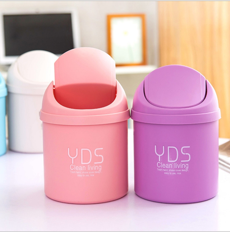 Candy Portable Plastic Desktop Dustbin Trash Cans Mini Table Waste Container Rubbish Bin Desk Organizer kids bedroom clean box(China (Mainland))