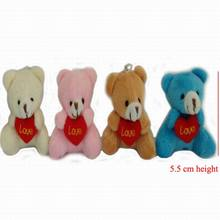 "20pcs x 5.5cm(2.2"") Plush Animals Miniature Tiny Small Sitting Teddy Bear With LOVE Heart Dolls House Craft Xmas Gift"