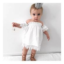 Summer Toddler Dress Kids Baby Girls Clothes Lace Top Dress Crop Tee Dresses Party Sundress